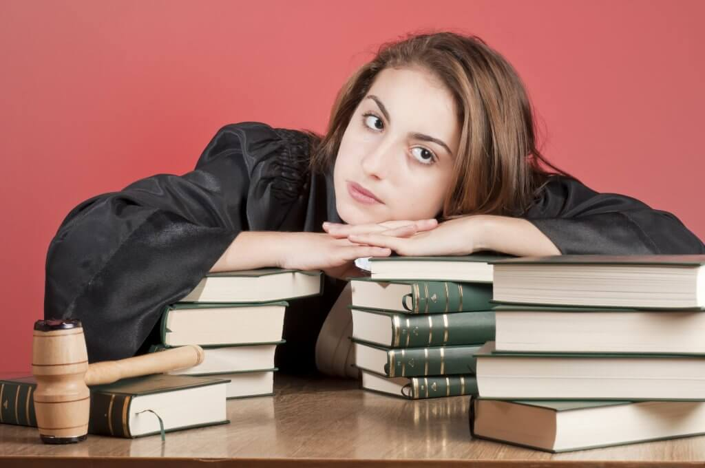 A law student and law books