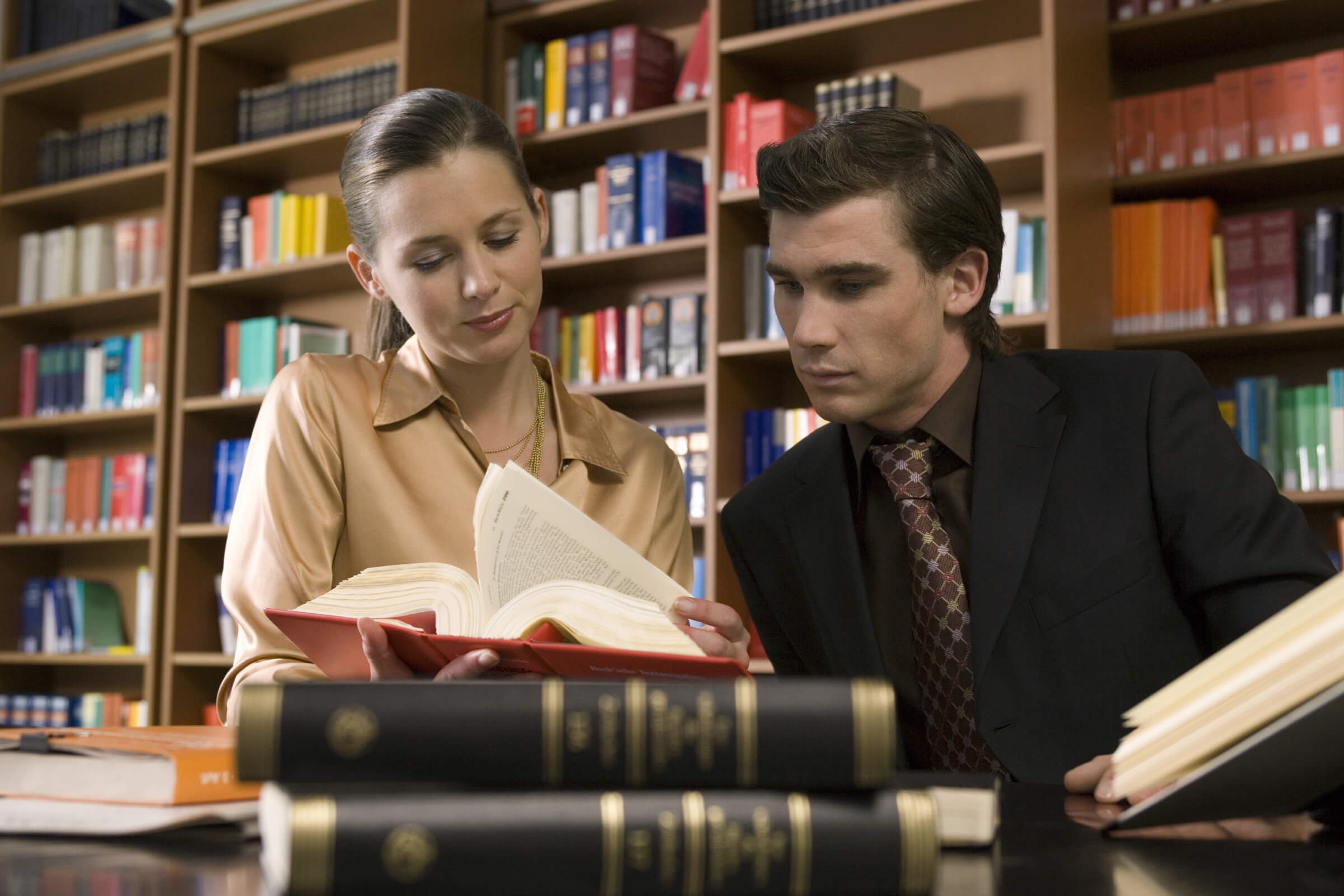 Law students in a library
